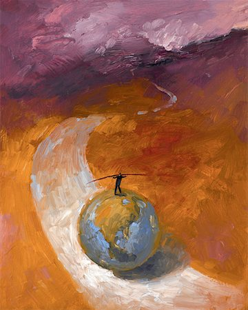 Man Balancing On a Globe Rolling Along a Road Stock Photo - Rights-Managed, Code: 700-00515989