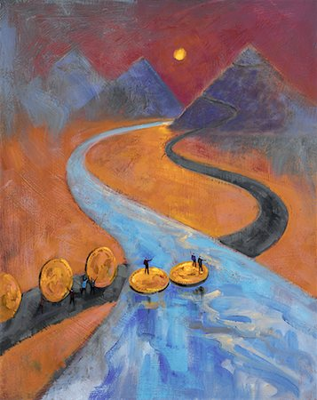 Figures Crossing River on Gold Coins Stock Photo - Rights-Managed, Code: 700-00515993