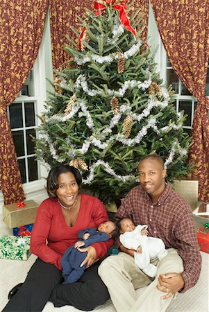 Couple With Newborn Twins at Christmas Stock Photo - Rights-Managed, Code: 700-00519096