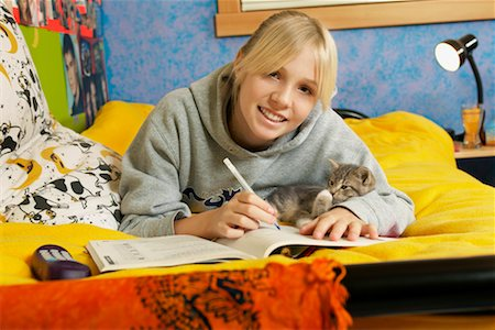 preteen girl pussy - Girl Doing Homework Stock Photo - Rights-Managed, Code: 700-00519393