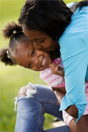 daughter kissing mother - Mother and Daughter Outdoors Stock Photo - Rights-Managed, Code: 700-00524516
