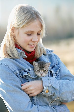 preteen girl pussy - Teenage Girl With Kitten, British Columbia, Canada Stock Photo - Rights-Managed, Code: 700-00522276