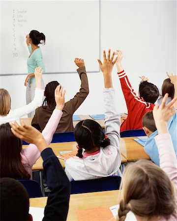 simsearch:600-01184690,k - Students with Hands Raised in Classroom Stock Photo - Rights-Managed, Code: 700-00523361