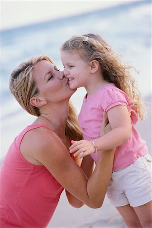 daughter kissing mother - Mother and Daughter at Beach Stock Photo - Rights-Managed, Code: 700-00523499
