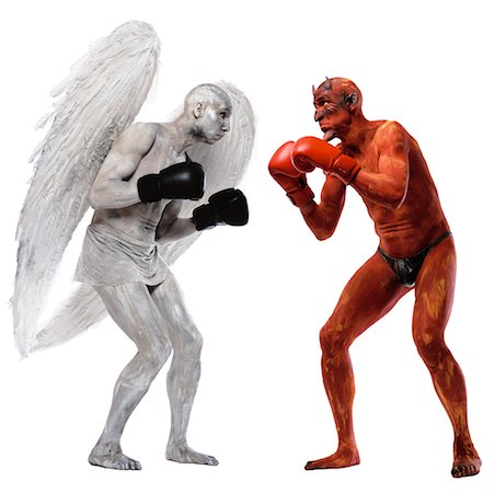 Angel and Devil Boxing Stock Photo - Rights-Managed, Code: 700-00544246