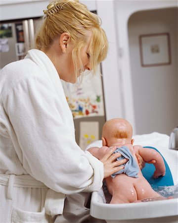 Mother Bathing Baby Stock Photo - Rights-Managed, Code: 700-00546699