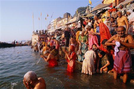People Bathing in the Ganges River, Varanasi, Uttar Pradesh, India Stock Photo - Rights-Managed, Code: 700-00554544