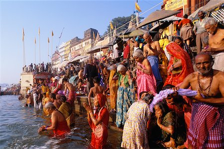 Pilgrims on the Ganges River, Varanasi, Uttar Pradesh, India Stock Photo - Rights-Managed, Code: 700-00554558