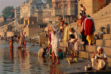 Pilgrims on the Ganges River, Varanasi, Uttar Pradesh, India Stock Photo - Rights-Managed, Code: 700-00554552