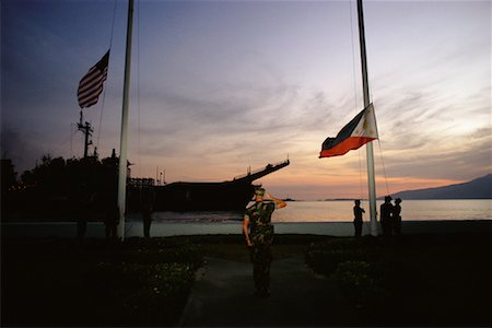 flag at half mast - Naval Base, Subic Bay, Olongapo, Philippines Stock Photo - Rights-Managed, Code: 700-00555390