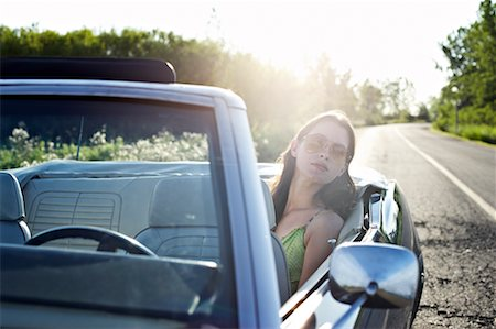stalled car - Woman in Back Seat of Convertible Stock Photo - Rights-Managed, Code: 700-00609423