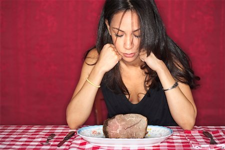 Woman Looking at Plate of Beef Stock Photo - Rights-Managed, Code: 700-00603395