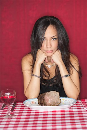 Woman at Restaurant With Plate of Beef Stock Photo - Rights-Managed, Code: 700-00603397