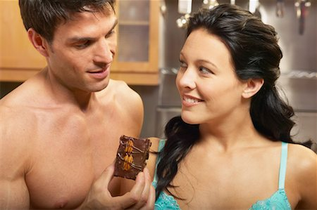 sexy couple chocolate - Portrait of Couple with Brownie Stock Photo - Rights-Managed, Code: 700-00616755
