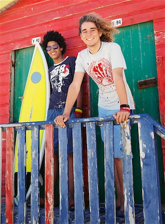 Friends by Beach Hut with Surfboard Stock Photo - Rights-Managed, Code: 700-00623334