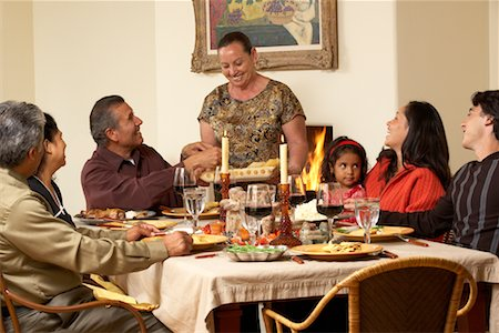 Family at Thanksgiving Dinner Stock Photo - Rights-Managed, Code: 700-00623519
