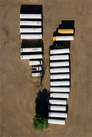 david zimmerman - Aerial View of Buses and Trucks at Parking Lot Stock Photo - Rights-Managed, Code: 700-00635460