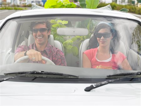 Couple in Car, Plants In Backseat Stock Photo - Rights-Managed, Code: 700-00644021