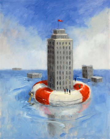 Building Floating On Life Preserver Stock Photo - Rights-Managed, Code: 700-00661366