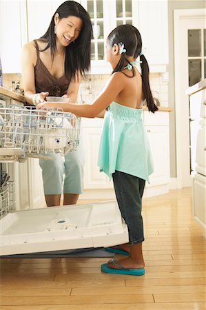 preteen thong - Woman and Girl Loading Dishwasher Stock Photo - Rights-Managed, Code: 700-00686847