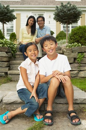 preteen thong - Portrait of Family in Front of Home Stock Photo - Rights-Managed, Code: 700-00686868