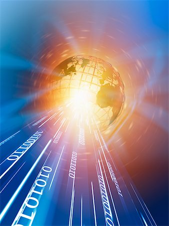 Wire Frame Globe and Binary Stock Photo - Rights-Managed, Code: 700-00712078