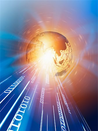 Wire Frame Globe and Binary Stock Photo - Rights-Managed, Code: 700-00712079