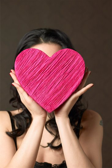 Woman Holding Heart Shaped Box Stock Photo - Premium Rights-Managed, Artist: Janet Bailey, Image code: 700-00795343