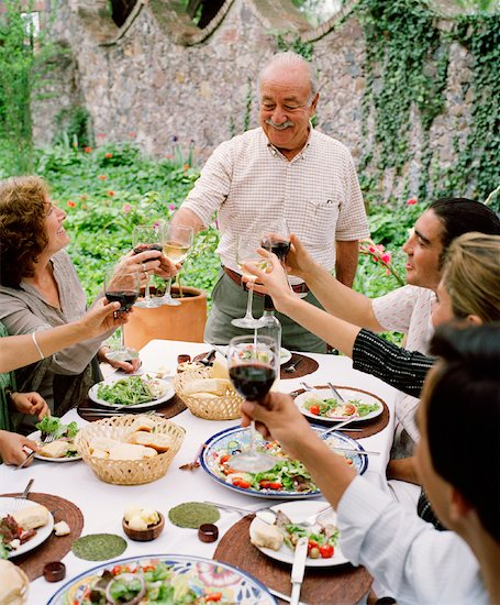 People Making Toast at Dinner Party Stock Photo - Premium Rights-Managed, Artist: Masterfile, Image code: 700-00795375