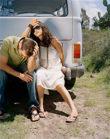 stalled car - Couple Sitting on Back of Van, Looking Upset Stock Photo - Rights-Managed, Code: 700-00796194