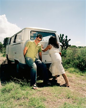 stalled car - Couple Pushing Stalled Van Stock Photo - Rights-Managed, Code: 700-00796192