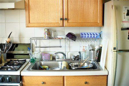 Kitchen with Dishes in the Sink Stock Photo - Rights-Managed, Code: 700-00897201