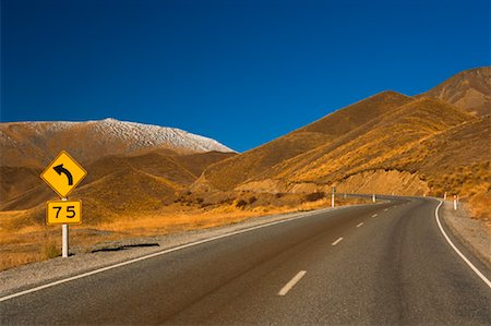 road landscape - Lindis Pass, Canterbury, South Island, New Zealand Stock Photo - Rights-Managed, Code: 700-00917905