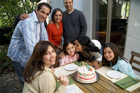 preteen kissing - Family At Girl's Birthday Party Outdoors Stock Photo - Rights-Managed, Code: 700-00918156
