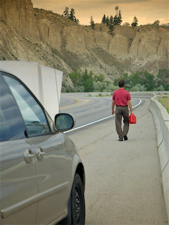 stalled car - Man Walking on Road, Carrying Gas Can Stock Photo - Rights-Managed, Code: 700-01014647
