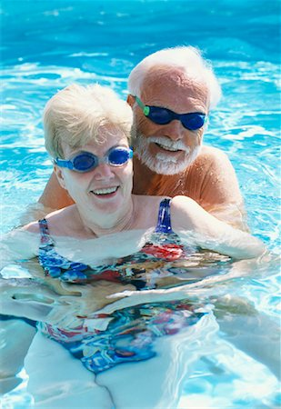 seniors woman in swimsuit - Couple in Swimming Pool Stock Photo - Rights-Managed, Code: 700-01030229
