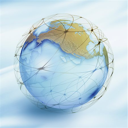 World Globe with Connection Lines Stock Photo - Rights-Managed, Code: 700-01030278