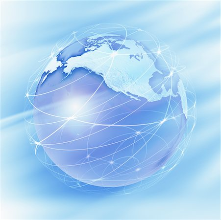 World Globe with Connection Lines Stock Photo - Rights-Managed, Code: 700-01030279