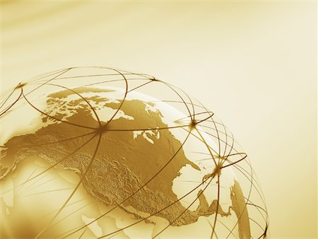 World Globe with Connection Lines Stock Photo - Rights-Managed, Code: 700-01030280
