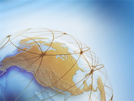 World Globe with Connection Lines Stock Photo - Rights-Managed, Code: 700-01030281