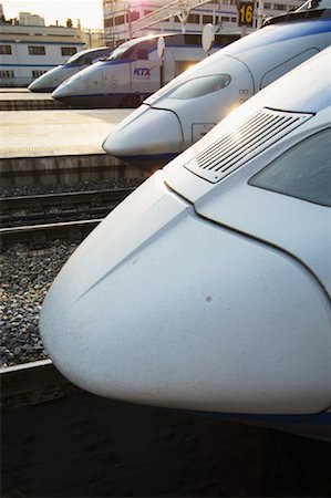 Bullet Trains Lined Up at Train Station Stock Photo - Rights-Managed, Code: 700-01083953