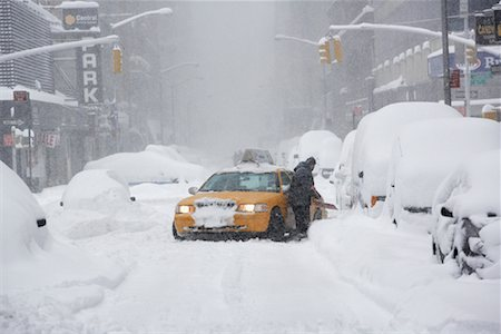 david zimmerman - Taxi Stuck in Snow Storm, New York City, New York, USA Stock Photo - Rights-Managed, Code: 700-01110258