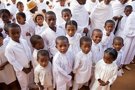 Children in White Clothing in Street, Soatanana, Madagascar Stock Photo - Rights-Managed, Code: 700-01112712