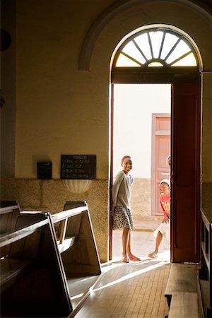 Children in Church Doorway, Fianarantsoa, Madagascar Stock Photo - Rights-Managed, Code: 700-01164902