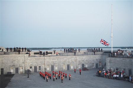 flag at half mast - Sunset Ceremony at Fort Henry, Kingston, Ontario, Canada Stock Photo - Rights-Managed, Code: 700-01172323