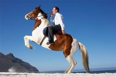 Horse Rearing with Businessman on Its Back Stock Photo - Rights-Managed, Code: 700-01185195