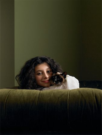 preteen girl pussy - Portrait of Girl with Cat Stock Photo - Rights-Managed, Code: 700-01182833