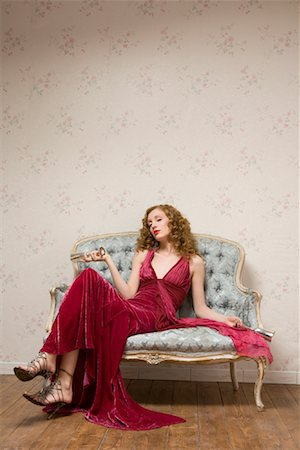 Woman on Sofa Stock Photo - Rights-Managed, Code: 700-01183259