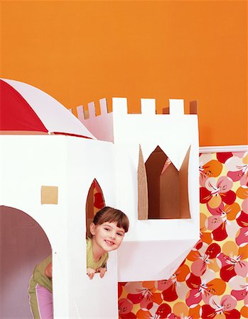 Girl Inside Toy Castle Stock Photo - Rights-Managed, Code: 700-01194576