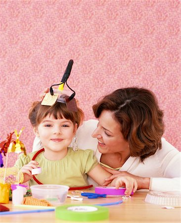 Mother and Daughter Making Crafts Stock Photo - Rights-Managed, Code: 700-01194572